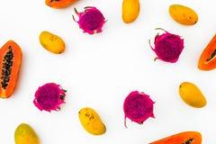 Πλαίσιο τροφίμων με τα νόστιμα papaya, μάγκο και δράκων φρούτα στο άσπρο υπόβαθρο Επίπεδος βάλτε Τοπ όψη Τροπική έννοια φρούτων στοκ εικόνα με δικαίωμα ελεύθερης χρήσης