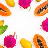 Πλαίσιο τροφίμων με τα φρούτα μπανανών, papaya, μάγκο και δράκων στο άσπρο υπόβαθρο r r στοκ φωτογραφία
