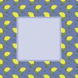 Πλαίσιο των κίτρινων φρούτων λεμονιών με τα πράσινα φύλλα που απομονώνεται στο μπλε υπόβαθρο στο όμορφο ύφος Πρότυπο πλαισίων φρο απεικόνιση αποθεμάτων