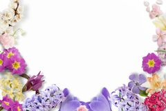Πλαίσιο των πολύχρωμων λουλουδιών, πράσινα φύλλα, κλάδοι στο άσπρο υπόβαθρο Επίπεδος βάλτε, τοπ άποψη floral πρότυπο καρδιών λουλ στοκ φωτογραφία με δικαίωμα ελεύθερης χρήσης