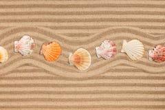Πλαίσιο φιαγμένο από τρέκλισμα θαλασσινών κοχυλιών, στην κυματιστή άμμο Στοκ φωτογραφία με δικαίωμα ελεύθερης χρήσης