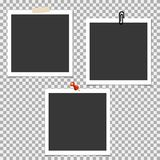 Πλαίσιο φωτογραφιών Polaroid με την καρφίτσα και με την κολλώδη ταινία στο γκρίζο υπόβαθρο Διανυσματικό πρότυπο, κενό Διανυσματική απεικόνιση