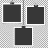 Πλαίσιο φωτογραφιών Polaroid με την καρφίτσα στο γκρίζο υπόβαθρο Πρότυπο, κενό για τη φωτογραφία ή εικόνα Ελεύθερη απεικόνιση δικαιώματος