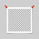 Πλαίσιο φωτογραφιών Polaroid με την καρφίτσα στο γκρίζο υπόβαθρο Διανυσματικό πρότυπο, κενό Απεικόνιση αποθεμάτων