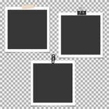 Πλαίσιο φωτογραφιών Polaroid με την καρφίτσα, συνδετήρας και με την κολλώδη ταινία στο γκρίζο υπόβαθρο Διανυσματικό πρότυπο, κενό Απεικόνιση αποθεμάτων