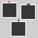 Πλαίσιο φωτογραφιών Polaroid με την καρφίτσα, συνδετήρας στο γκρίζο υπόβαθρο Διανυσματικό πρότυπο, κενό Απεικόνιση αποθεμάτων
