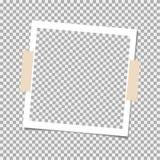 Πλαίσιο φωτογραφιών Polaroid με την κολλώδη ταινία στο γκρίζο υπόβαθρο Πρότυπο, κενό για την καθιερώνουσα τη μόδα φωτογραφία σας Απεικόνιση αποθεμάτων