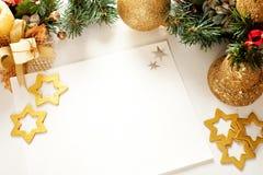 Πλαίσιο Χριστουγέννων για τη ευχετήρια κάρτα Στοκ Εικόνες