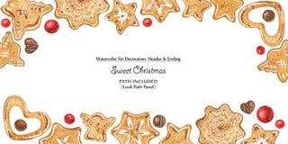 Πλαίσιο Χριστουγέννων με τις σοκολάτες και τα μπισκότα διανυσματική απεικόνιση