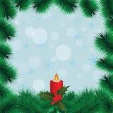 Πλαίσιο Χριστουγέννων με τους κλάδους και το κερί έλατου Στοκ εικόνα με δικαίωμα ελεύθερης χρήσης