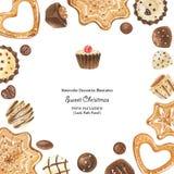 Πλαίσιο Χριστουγέννων instagram με τις σοκολάτες και τα μελοψώματα ελεύθερη απεικόνιση δικαιώματος