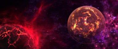 Πλανήτες και γαλαξίες, ταπετσαρία επιστημονικής φαντασίας Ομορφιά του βαθιού διαστήματος απεικόνιση αποθεμάτων