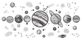 Πλανήτες και διαστημική συρμένη χέρι διανυσματική απεικόνιση Ηλιακό σύστημα με τους δορυφόρους Στοκ εικόνα με δικαίωμα ελεύθερης χρήσης
