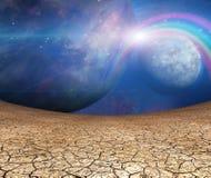 Πλανήτες και ραγισμένη γη Στοκ Φωτογραφίες