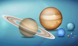 Πλανήτες στο διαστημικό scence ελεύθερη απεικόνιση δικαιώματος