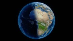 Πλανήτης Γη και διάστημα στο υπόβαθρο απόθεμα βίντεο