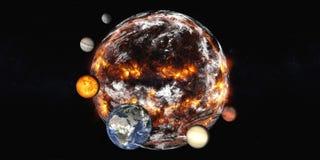 Πλανήτης Γη με τους πλανήτες της έκρηξης ηλιακών συστημάτων διανυσματική απεικόνιση