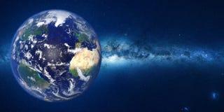 Πλανήτης Γη μπροστά από το γαλακτώδη γαλαξία τρόπων Στοκ Εικόνες