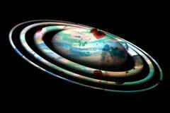 Πλανήτης στο εύθυμο κέρινο χρώμα watercolor στο μαύρο υπόβαθρο Στοκ φωτογραφία με δικαίωμα ελεύθερης χρήσης