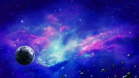 Διαστημική σκηνή Πλανήτης στο ζωηρόχρωμο νεφέλωμα με asteroids Στοιχεία που εφοδιάζονται από τη NASA r ελεύθερη απεικόνιση δικαιώματος