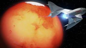 Πλασματικό spaceplane στην τροχιά του Άρη, έννοια του διαστημοπλοίου για το διαστημικό τουρισμό, τρισδιάστατη ζωτικότητα Η σύστασ ελεύθερη απεικόνιση δικαιώματος