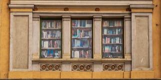 Πλαστά βιβλία σε ένα παράθυρο σε Brasov, στη Ρουμανία στοκ φωτογραφία με δικαίωμα ελεύθερης χρήσης