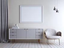 Πλαστές επάνω μπεζ στήθος και καρέκλα δωματίων τοίχων στο εσωτερικό Σκανδιναβικό εσωτερικό ύφους διανυσματική απεικόνιση