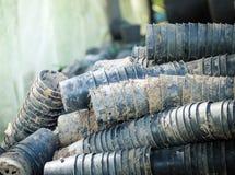 Πλαστικά δοχεία για τα σπορόφυτα ή τη φύτευση των δέντρων Στοκ Φωτογραφίες