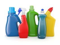 Πλαστικά καθαριστικά μπουκάλια. Καθαρίζοντας προϊόντα. ελεύθερη απεικόνιση δικαιώματος