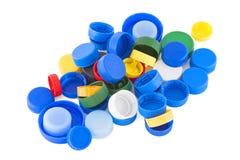 Πλαστικά καλύμματα μπουκαλιών που απομονώνονται Στοκ φωτογραφίες με δικαίωμα ελεύθερης χρήσης
