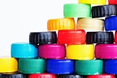 Πλαστικά καλύμματα μπουκαλιών Στοκ φωτογραφίες με δικαίωμα ελεύθερης χρήσης