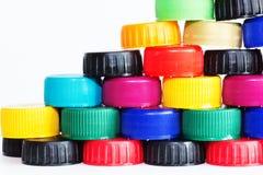 Πλαστικά καλύμματα μπουκαλιών Στοκ Φωτογραφία