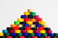 Πλαστικά καλύμματα μπουκαλιών Στοκ εικόνα με δικαίωμα ελεύθερης χρήσης