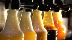 Πλαστικά μπουκάλια με τις διαφορετικές μορφές μπύρας απόθεμα βίντεο