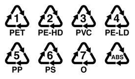 Πλαστικά που ανακυκλώνουν το σύμβολο, το ανακύκλωσης τρίγωνο με τον αριθμό και το σημάδι κώδικα προσδιορισμού ρητίνης διανυσματική απεικόνιση
