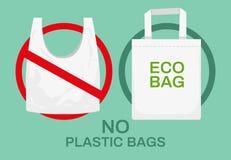 Πλαστικές ή υφαντικές τσάντες Σκουπίδια πλαστικών, τσάντες αγορών πολυαιθυλένιου και ανακύκλωσης οικολογική τσάντα υφασμάτων Διάν διανυσματική απεικόνιση