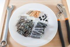 Πλαστική καρφίτσα βουλωμάτων γόμφων ή τοίχων με τις βίδες για τα τούβλα στο πιάτο στοκ εικόνες