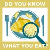 Πλαστική ρύπανση, μικροπλαστικό πρόβλημα Μικροπλαστικός στα τρόφιμα Οικολογική αφίσα Τηγανισμένα ψάρια με τα πλαστικά κομμάτια μι ελεύθερη απεικόνιση δικαιώματος