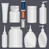 Πλαστικός πλαστικός σωλήνας μπουκαλιών και λοσιόν Στοκ Εικόνες