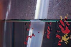 Πλαστικός σωλήνας στη σκηνή κινηματογραφήσεων σε πρώτο πλάνο τέχνης μπουκαλιών νερό του αντικειμένου Στοκ φωτογραφία με δικαίωμα ελεύθερης χρήσης