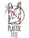 Πλαστικό ελεύθερο Γραπτό σχέδιο γραμμών μιας πλαστικής τσάντας με το κόκκινο σημάδι απαγόρευσης r Διανυσματική κάρτα ελεύθερη απεικόνιση δικαιώματος