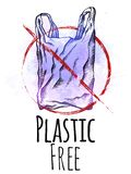 Πλαστικό ελεύθερο Το σχέδιο γραμμών μιας πλαστικής τσάντας με την εκκόλαψη και οι ιώδεις παφλασμοί watercolor με την κόκκινη απαγ απεικόνιση αποθεμάτων
