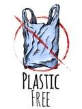 Πλαστικό ελεύθερο Χρωματίζοντας σχέδιο γραμμών μιας πλαστικής τσάντας με το κόκκινο σημάδι απαγόρευσης r Διανυσματική κάθετη κάρτ απεικόνιση αποθεμάτων