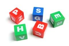πλαστικό κύβων αλφάβητου Στοκ Φωτογραφίες