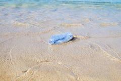 Πλαστικό μπουκάλι στην παραλία άμμου Στοκ φωτογραφία με δικαίωμα ελεύθερης χρήσης