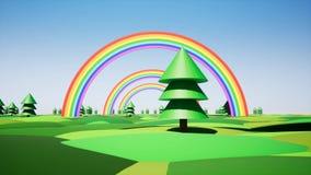 Πλαστικό νησί με το ουράνιο τόξο και πλαστικά δέντρα απεικόνιση αποθεμάτων