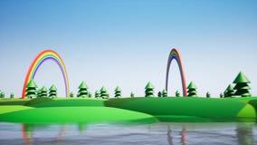 Πλαστικό νησί με το ουράνιο τόξο και πλαστικά δέντρα διανυσματική απεικόνιση