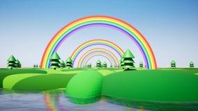 Πλαστικό νησί με το ουράνιο τόξο και πλαστικά δέντρα ελεύθερη απεικόνιση δικαιώματος