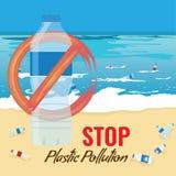 Πλαστικό πρότυπο μπουκαλιών χωρίς το σημάδι Ρύπανση της έννοιας ωκεανών, θάλασσας ή παραλιών επίσης corel σύρετε το διάνυσμα απει διανυσματική απεικόνιση
