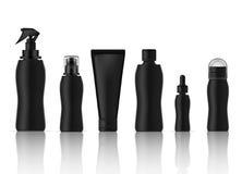 Πλαστός επάνω ρεαλιστικός ψεκασμός προϊόντων Skincare μπουκαλιών, αποσμητικό, σαπούνι αφρού, Dropper ορός, λοσιόν αντλιών και καθ απεικόνιση αποθεμάτων